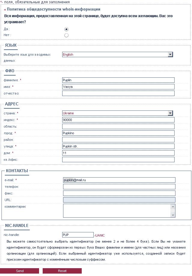 Пример заполнения регистрационной формы