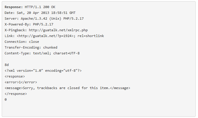 pingback server response